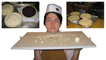 Chef Rebecca with pies, before and after